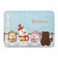 "Merry Christmas Carolers Chow Chow Chocolate Machine Washable Memory Foam Mat - 19 X 27"""
