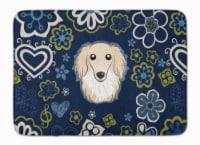 "Blue Flowers Longhair Creme Dachshund Machine Washable Memory Foam Mat - 19 X 27"""
