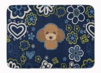 "Blue Flowers Chocolate Brown Poodle Machine Washable Memory Foam Mat - 19 X 27"""