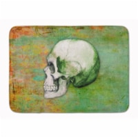"""Day of the Dead Green Skull Machine Washable Memory Foam Mat - 19 X 27"""""""