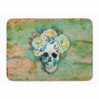 """Day of the Dead Skull with Flowers Machine Washable Memory Foam Mat - 19 X 27"""""""