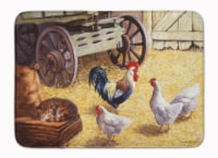 Rooster and Hens Chickens in the Barn Machine Washable Memory Foam Mat
