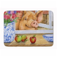 """Pig trying to reach the Apple in the Window Machine Washable Memory Foam Mat - 19 X 27"""""""