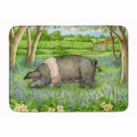 """Pig In Bluebells by Debbie Cook Machine Washable Memory Foam Mat - 19 X 27"""""""