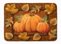 Pumpkins and Fall Leaves Machine Washable Memory Foam Mat