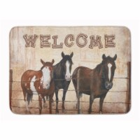 """Welcome Mat with Horses Machine Washable Memory Foam Mat - 19 X 27"""""""