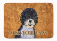 """Portuguese Water Dog Wipe your Paws Machine Washable Memory Foam Mat - 19 X 27"""""""