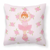 Ballerina Red Front Pose Fabric Decorative Pillow