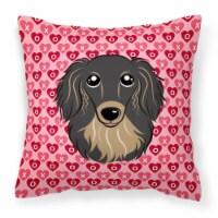 Longhair Black and Tan Dachshund Hearts Fabric Decorative Pillow