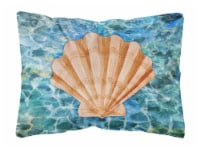 Scallop Shell and Water Canvas Fabric Decorative Pillow