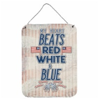 My Heart Beats Red White and Blue Wall or Door Hanging Prints - 16HX12W