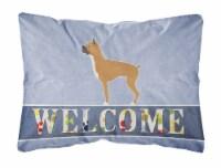 Carolines Treasures  BB5557PW1216 Boxer Welcome Canvas Fabric Decorative Pillow