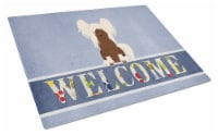 Chinese Crested Cream Welcome Glass Cutting Board Large