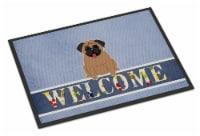Carolines Treasures  BB5586MAT Pug Brown Welcome Indoor or Outdoor Mat 18x27