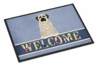 Mastiff Brindle White Welcome Indoor or Outdoor Mat 18x27