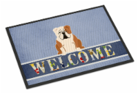 English Bulldog Fawn White Welcome Indoor or Outdoor Mat 18x27