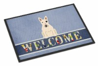 Bull Terrier White Welcome Indoor or Outdoor Mat 18x27 - 18Hx27W