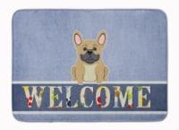 "French Bulldog Cream Welcome Machine Washable Memory Foam Mat - 19 X 27"""