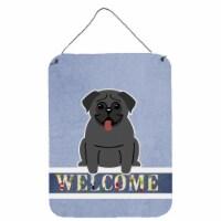 Carolines Treasures  BB5587DS1216 Pug Black Welcome Wall or Door Hanging Prints