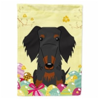 Easter Eggs Wire Haired Dachshund Black Tan Flag Canvas House Size