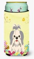 Easter Eggs Shih Tzu Silver White Tall Boy Beverage Insulator Hugger - Tall Boy