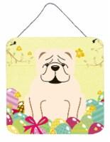 Easter Eggs English Bulldog White Wall or Door Hanging Prints - 6HX6W