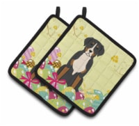 Easter Eggs Greater Swiss Mountain Dog Pair of Pot Holders - Standard