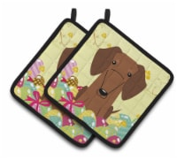 Easter Eggs Dachshund Red Brown Pair of Pot Holders - Standard