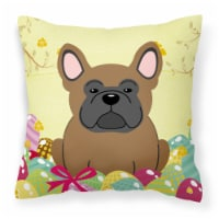 Fry S Food Stores Easter Eggs French Bulldog Brown Fabric Decorative Pillow 14hx14w