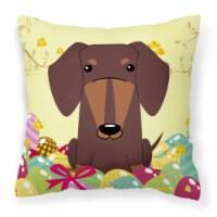 Easter Eggs Dachshund Chocolate Fabric Decorative Pillow - 14Hx14W