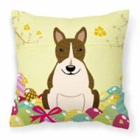 Easter Eggs Bull Terrier Dark Brindle Fabric Decorative Pillow