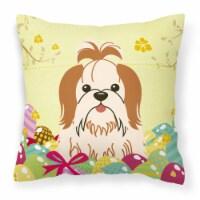 Easter Eggs Shih Tzu Red White Fabric Decorative Pillow - 18Hx18W