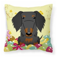 Easter Eggs Wire Haired Dachshund Black Tan Fabric Decorative Pillow
