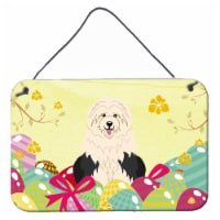 Easter Eggs Old English Sheepdog Wall or Door Hanging Prints - 8HX12W