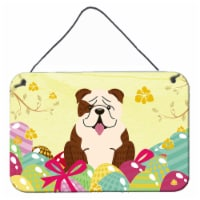 Easter Eggs English Bulldog Brindle White Wall or Door Hanging Prints - 8HX12W