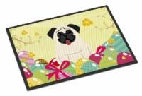 Carolines Treasures  BB6004MAT Easter Eggs Pug Cream Indoor or Outdoor Mat 18x27 - 18Hx27W