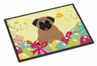 Carolines Treasures  BB6005MAT Easter Eggs Pug Brown Indoor or Outdoor Mat 18x27 - 18Hx27W