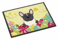 Easter Eggs French Bulldog Black White Indoor or Outdoor Mat 18x27 - 18Hx27W
