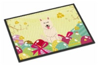 Easter Eggs White German Shepherd Indoor or Outdoor Mat 18x27 - 18Hx27W