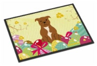 Easter Eggs Staffordshire Bull Terrier Brown Indoor or Outdoor Mat 18x27 - 18Hx27W