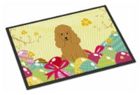 Easter Eggs Poodle Tan Indoor or Outdoor Mat 18x27