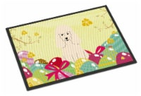 Easter Eggs Poodle White Indoor or Outdoor Mat 18x27 - 18Hx27W