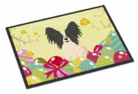 Easter Eggs Papillon Black White Indoor or Outdoor Mat 18x27 - 18Hx27W