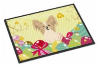 Easter Eggs Papillon Sable White Indoor or Outdoor Mat 18x27