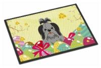 Easter Eggs Shih Tzu Black Silver Indoor or Outdoor Mat 18x27 - 18Hx27W