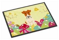 Easter Eggs Wire Fox Terrier Indoor or Outdoor Mat 18x27