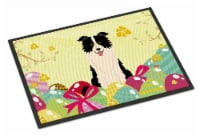 Easter Eggs Border Collie Black White Indoor or Outdoor Mat 18x27 - 18Hx27W