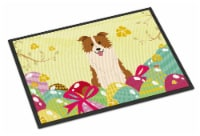 Easter Eggs Border Collie Red White Indoor or Outdoor Mat 18x27 - 18Hx27W
