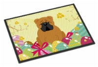 Easter Eggs English Bulldog Red Indoor or Outdoor Mat 18x27