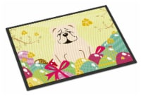 Easter Eggs English Bulldog White Indoor or Outdoor Mat 18x27